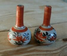 More details for two japanese hand-painted kutani minature  pottery vases
