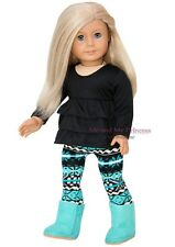 RUFFLED TOP + LEGGINGS + EWE BOOTS for 18 inch American Girl Doll clothes