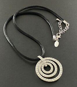 Signed NOLAN MILLER Pendant Necklace Black Silk Cord Silver Tone Pendant RS #5