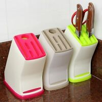 Plastic Knife Holder Block Scissor Slot Storage Rack Kitchen Organizer Tool LEP