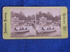 Baltimore MD/Boat Matilda on Lake in Druid Hill Park/Antique Albumen Stereoview