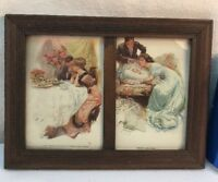 Vtg 1920's Framed 2pc First Evening In New Home Their New Love Baby Postcards