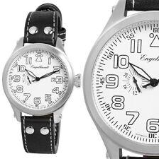 Herren Automatik XL-Armbanduhr Weiss/Silber/Schwarz Leder ENGELHARDT 269€ UVP
