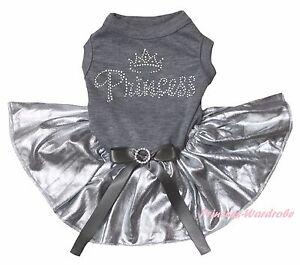 Rhinestone Princess Gray Cotton Top Bling Silver Skirt Cat Pet Dog Puppy Dress
