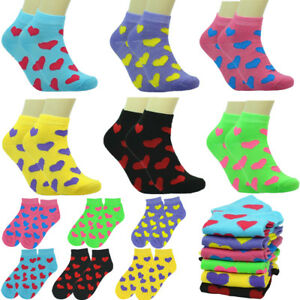 New 6 Pairs Women Fashion Cotton Casual Ankle Low Cut Socks Size 9-11 HEART