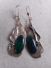 VINTAGE HANDMADE ORGANIC MODERNIST STERLING DANGLE EARRINGS W/ MOTTLED ART GLASS