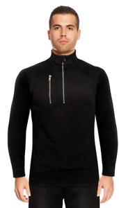 Mens Running Sweatshirt Top Black Zip Stretch Track Jogging Sport Breathable NEW