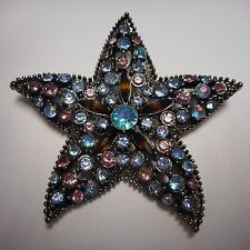 BEAUTIFUL OLD CRYSTAL STARFISH PIN / BROOCH BLACK PLATE LOADED WITH CRYSTAL