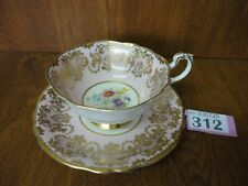 2) Vintage Paragon Queen Mary - Baby Pink, Floral & Gilt Tea Cup & Saucer