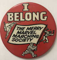 Merry Marvel Marching Society I Belong Button Pin-Vintage 1966 MMMS-Spiderman
