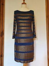 Phase Eight Azul Marino Vestido de lentejuelas de bronce rayas cabido, Manga Larga Talla 10.