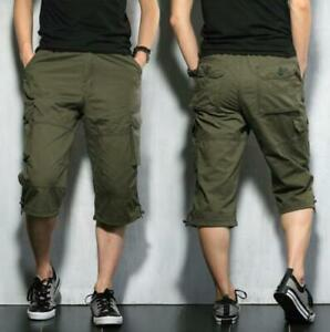Mens Loose outdoor Mid Long Casual Summer Cargo Army Cargo Shorts Size L New