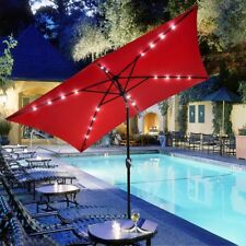 10'x6.5' Patio Outdoor Aluminum Umbrella Solar LED Light Crank Tilt Red Cover
