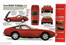 FERRARI DAYTONA 365 SPEC SHEET / Brochure / Catalog: 1969,1970,1971