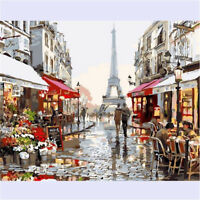Paris Street Acrylic Paint By Numbers Painting Kit With Brush & Instruction