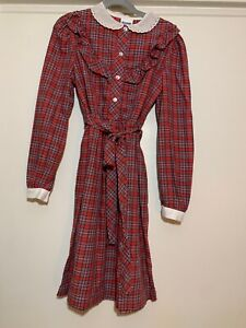 Girl's vintage Bonnie Jean dress long sleeve red plaid holiday Christmas winter