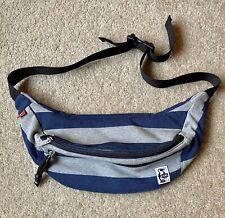 *Vintage* CHUMS Crossbody Adjustable Strap Blue/Gray Stripe Shoulder Bag Unisex