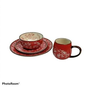 Temptations Red Floral Lace Service For 4 Place Setting 16 Pieces
