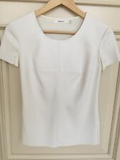 Bailey44 White Faux Leather-Front Short Sleeve Top Sz S