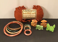 Vtg Macrame Lot 4 Ceramic Mushroom Butterfly Owl Marbella 5�-2� Rings Cord Craft