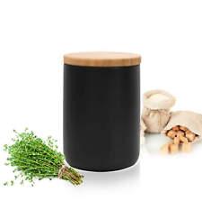 Schwarze Vorratsdose 800ml mit Holzdeckel Porzellan Vorratsbehälter Dose #5