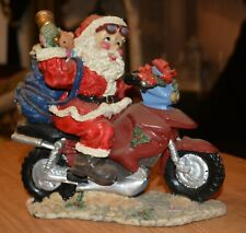Vintage  Ceramic Christmas Santa Claus On Motorcycle With   gifts on his back