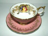 Vintage Aynsley Pink Gold garland  Orchard Fruit tea Cup and Saucer 2684 teacup
