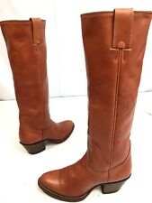 v Nos New Vtg Alberta Lady Cognac Leather Cowboy Western Tall Riding Boots 7 Aa