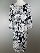 EMMA & MICHELE casual career work church shift dress L floral navy blue white
