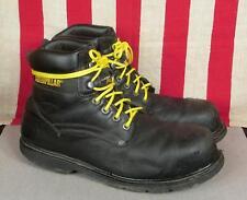 Caterpillar Black Leather Techni Flex Work Boots Steel Toe Industrial Sz.13 Wide