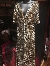 Sara Berman Leopard Silk Fully Lined Vintage Cocktail Dress Maxi Gown