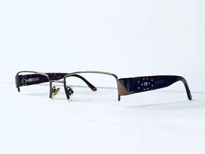 Versace Metal Half Rim Rectangular Frame Tortoise Glasses Italy MOD 51 17 135