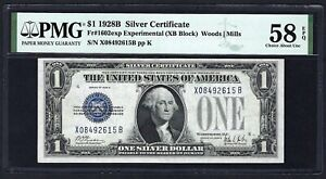 "1928B $1 SC  ""X---B"" BLOCK ♚♚EXPERIMENTAL♚♚  PMG CH ABOUT 58 EPQ"