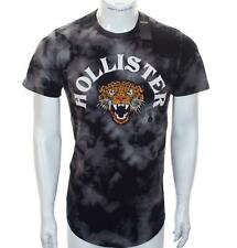 New Men's Hollister Embroidered Leopard T Shirt Large Black Tie-Dye Short Sleeve