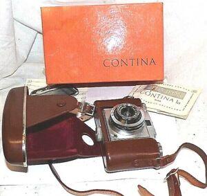 Vintage Zeiss Ikon Contina 45 MM Film Fotocamera Scatola Originale E Directions