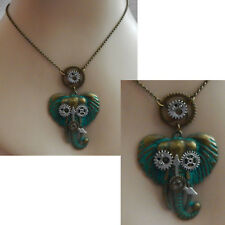 Steampunk Necklace Elephant Green Pendant Cosplay Handmade New Fashion Chain