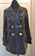 INC Black Patent Shiny Vinyl PVC Rain Coat Swing Cropped Oversized Gold Retro M
