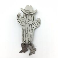 Vtg JJ Jonette Jewelry Pewter Brooch Pin Cowboy Cactus Sheriff Star Boots Hat
