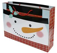 Set Of 4 LARGE Gift Bags Christmas Gift Tote Bags Santa Snowman Reindeer