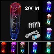 Manual Gear Stick Drift Shift Knob LED RGB Colorful Light Crystal Bubble 20cm