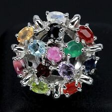 NATURAL RUBY,SAPPHIRE,AMETHYST & MULTI-GEMS 925 SILVER RING SIZE 7.5