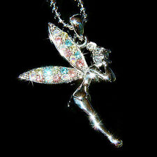 w Swarovski Crystal PIXIE ~Pastel Tinkerbell ANGEL Pendant Necklace Jewelry Cute