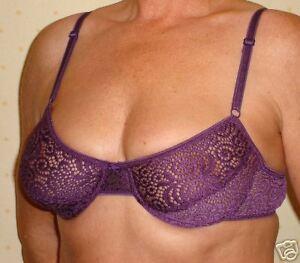 Underwired bra in purple stretch lace 36C