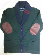 Medium Polo Ralph Lauren  Thick  heavy Wool leather patch Shawl cardigan sweater