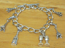 Paris France Silver-Tone Charm Bracelet Eiffel Tower/French Wine/Champagne+