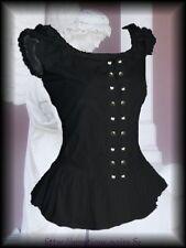 Romantic Mieder Bluse Griseldis schwarz Gothic Mittelalter Barock 36 38 40 42 44