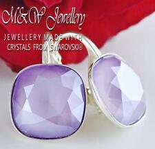 925 STERLING SILVER EARRINGS 12MM FANCY STONE LILAC CRYSTALS FROM SWAROVSKI®