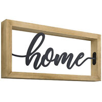 MyGift Tabletop or Wall Mounted Light Brown Wood and Black Metal Home Sign
