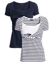 H&M Woman MAMA Organic Cotton Basic Nursing Top T-shirt Tee navy blue stripe 2pc