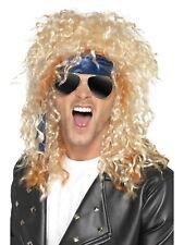 Heavy METAL Rocker KIT Mens Occhiali Parrucca BANDANA ANNI'80 FANCY DRESS KIT